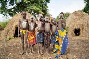 Mursi Tribe children with body paint